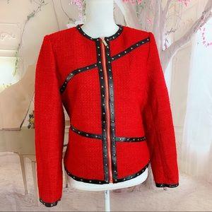 Karl Lagerfeld Red Tweed Blazer